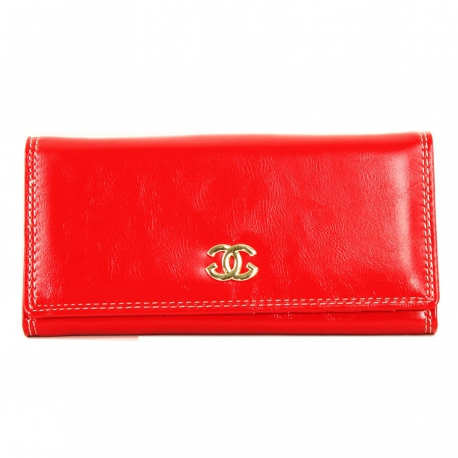Women's Wallet, Red, Genuine Leather (Large 18 X 9 cm)