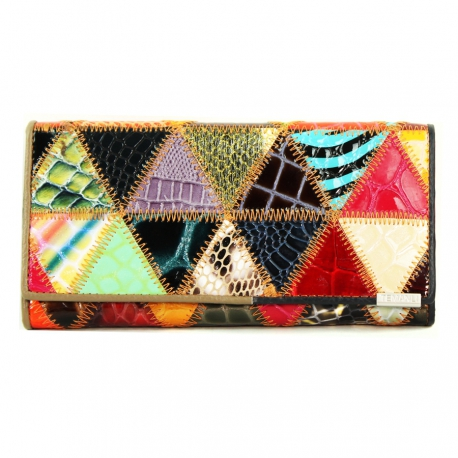 Women's Wallet Pyramid, Genuine Leather (Large Size 18 X 9 cm)