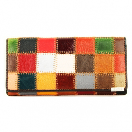 Women's Wallet Collage, Genuine Leather (Large Size 18 X 9cm)