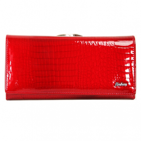Women's Wallet Red Flower, Genuine Leather (Size 18.5 X 9 cm)
