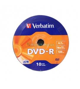კომპაქტური დისკი, VERBATIM DVD-R, 16X 4.7GB, MATT SILVER