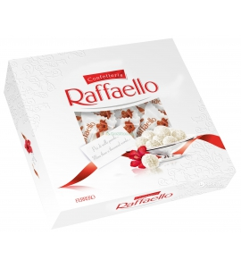 240 გრ. რაფაელო , თეთრი შოკოლადით , ქოქოსით და ნუშით, ტკბილეული , ბამბანერკა, ბომბონერი, სასაჩუქრე ყუთით.