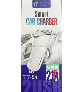 2.1 A ავტომობილისთვის დამტენი, აიფონის სწრაფი დამტენი, ორმაგი USB პორტით,  TT-24
