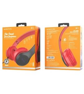 1.2 მ. სადენით ყურსასმენი, წითელი, BOROFONE B05, star sound wired Headphones,  ყურსასმენები