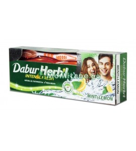 """150მლ. კბილის პასტა +ჯაგრისი, ლიმნის და მენთოლის გემო, საჩუქრად ჯაგრისი , """" კბილის ჩოთქი """" HERBI Sensitive"""